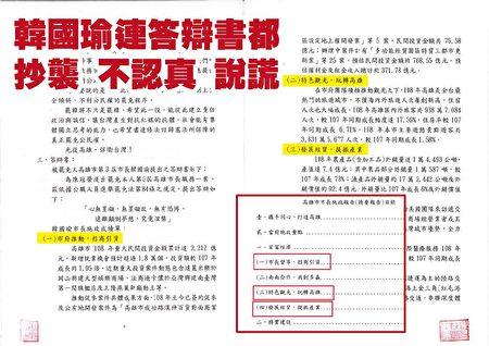 民间团体Wecare高雄在脸书发文批评,韩国瑜答辩书中的15个政绩,标题多数都是照抄市政报告、精简施政报告内容。