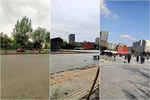 右圖為疫情前的臨江廣場。左圖是近日的廣場。(受訪者提供)
