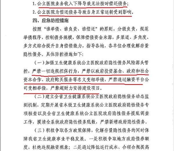 河北衛健委4月24日的保密文件提出的債務風險防控措施,洩露了中共政府隱性債務危機正在加劇惡化。圖為文件截圖。(大紀元)