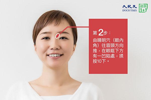 安神助眠穴道按摩法之第二步:在眼內角向眉頭方向的凹陷處,揉按10下。(大紀元)
