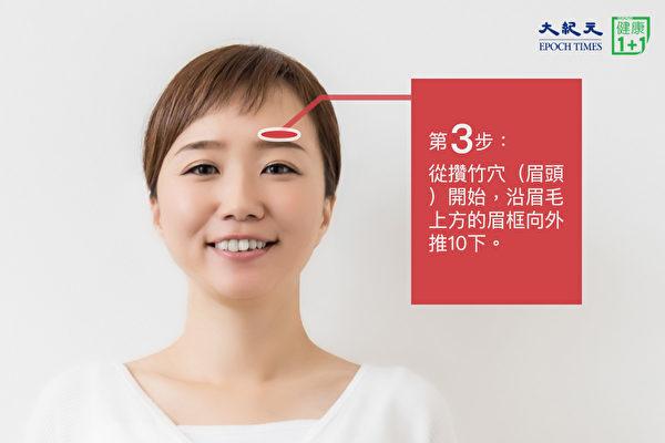 安神助眠穴位按摩法之第三步:在眉毛上方推按10下。(大紀元)