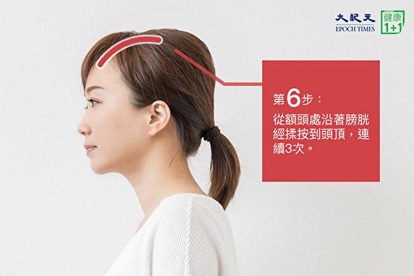 安神助眠穴道按摩法之第六步:按額頭與頭頂的膀胱經。(大紀元)