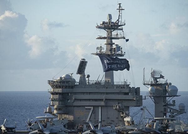 羅斯福號航母在關島停航近兩個月,目前再次返回大海,並在印度太平洋地區進行軍事行動。 (Photo by Will BENNETT / Navy Office of Information / AFP)