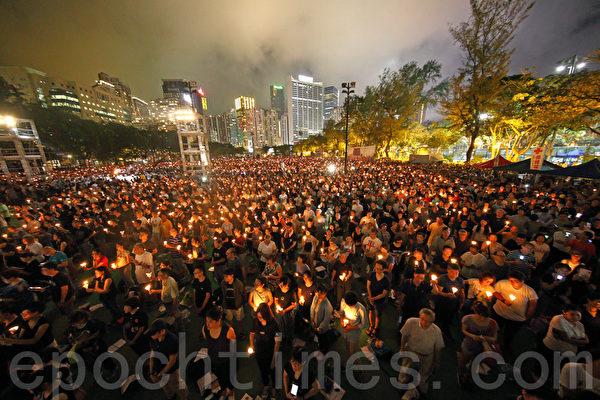 圖為香港支聯會於2019年6月4日晚間在維多利亞公園舉行「六四事件」28周年燭光晚會。(李逸/大紀元)