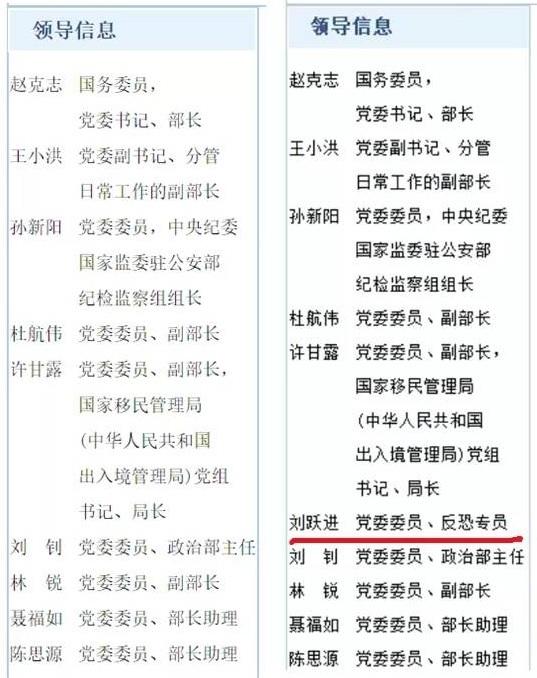 劉躍進已從公安部領導一欄中消失(左),離任前他排在公安部政治部主任劉釗之前。(網頁截圖)
