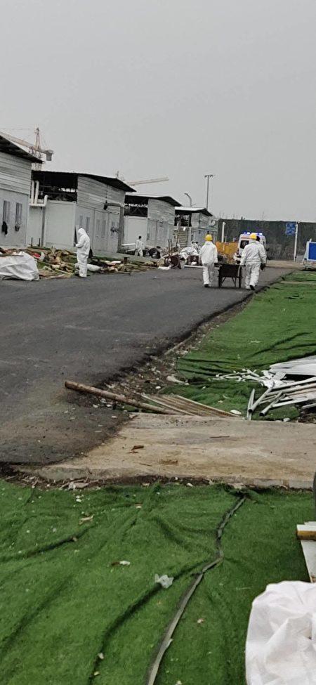 武漢軍運村雷神山醫院施工現場。(受訪者提供)