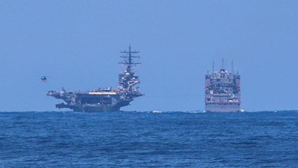 5月8日,列根號航母在接受補給。(U.S. Navy photo by Mass Communication Specialist 3rd Class James S. Hong/Released)