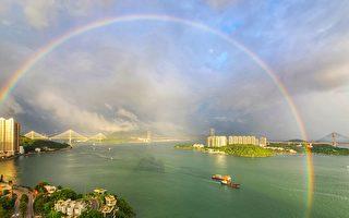 天空現巨型雙彩虹 「吉兆!天佑香港」