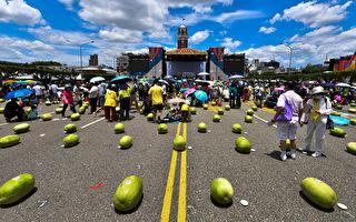 端午节台湾总统府前立999颗西瓜 活动登场