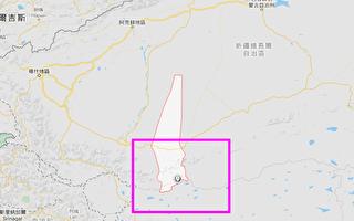 中國新疆和田地區于田縣一帶接連發生至少8次地震。(谷歌地圖)