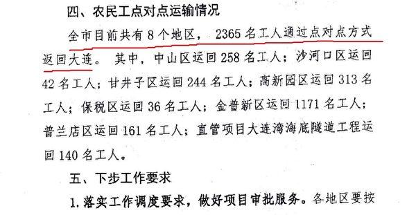 大連市住建局3月31日的復工通報顯示,全市有8個地區通過「點對點方式」,接回了2365名工人。(大紀元)