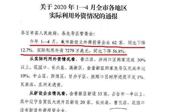 大連市政府辦公室5月22日的《關於2020年1-4月全市各地區實際利用外資情況的通報》截圖(大紀元)