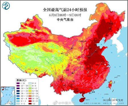 大陸氣象部門8日上午發佈高溫預警。(中國天氣微博)