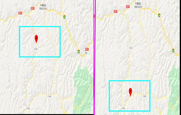 四川甘孜藏族自治州丹巴縣(右)、金川縣(左)均發生泥石流。(谷歌地圖)