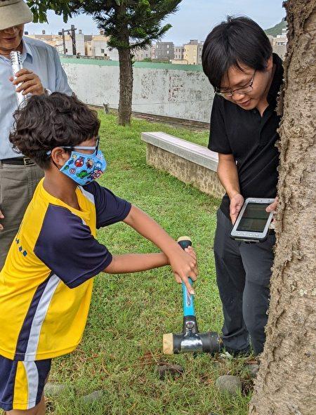 外埯国小学生体验树木健康检测─敲击式音波检测仪的使用。