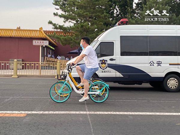 2020年6月22日,北京長安街上,這條街幾乎沒有行人。(大紀元)