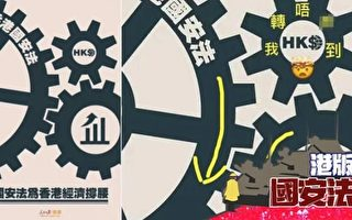 """中共官媒插图闹笑话 国安法""""卡死""""香港"""