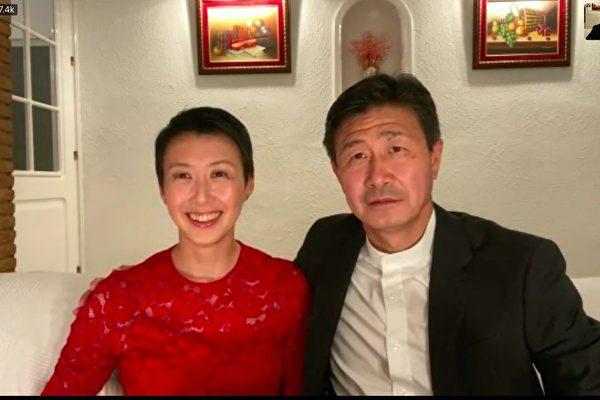 郝海東和妻子葉釗穎接受媒體採訪。(影片截圖)