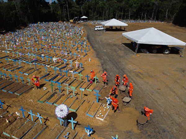 2020年6月2日,在COVID-19中共病毒大流行期間,巴西馬瑙斯塔魯馬附近的Nossa Senhora Aparecida公墓挖墓者在埋葬了。(攝影:Michael DANTAS /法新社)