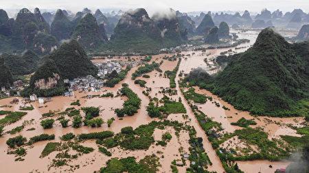 圖為6月7日,廣西桂林的陽朔被淹。(Photo by STR/AFP via Getty Images)STR/AFP via Getty Images)
