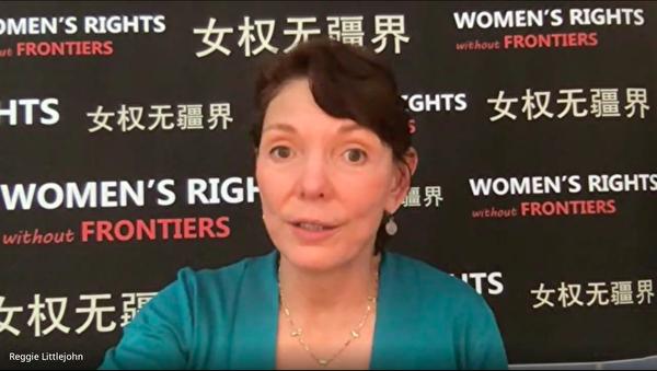 「女權無疆界」組織創始人及主席瑞潔·利特瓊(Reggie Littlejohn)日前接受本報專訪。(影片截圖)