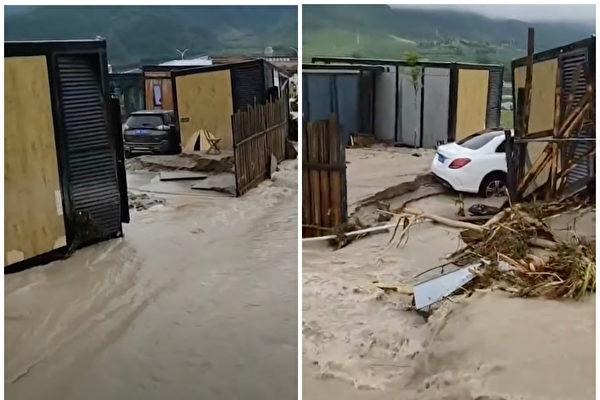 四川冕寧縣6月26日洪水過後,旅館發生位移,車子陷在淤泥裏。(影片截圖)