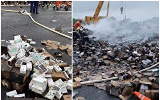 【現場視頻】貨車側翻起火 燒毀2萬台iPhone