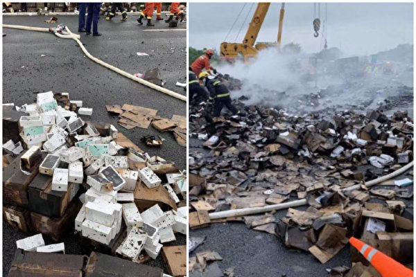 【现场视频】货车侧翻起火 烧毁2万台iPhone