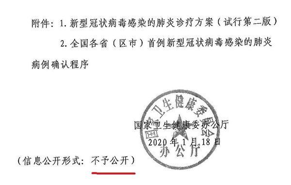 大紀元曝光1月18日中共衛健委下發各地的秘密通知,通知要求首例確診病例必須經國家衛健委來確認,由各省來發佈。(大紀元)