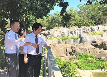 副總統賴清德拜訪新竹市立動物園,由市長林智堅親自導覽。