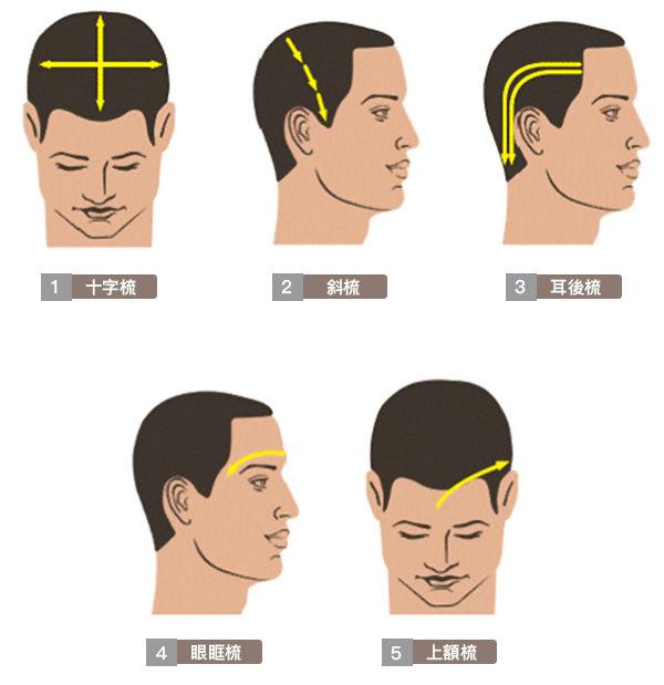 梳頭不是梳頭髮,而是按摩頭部、按摩全身。圖為梳頭按摩的五種方式。(日日學提供)