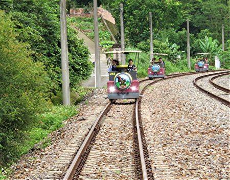 电动自行车的乘客只要轻轻转动加油的把手,四人座的自行车就能平顺地往前滑行。