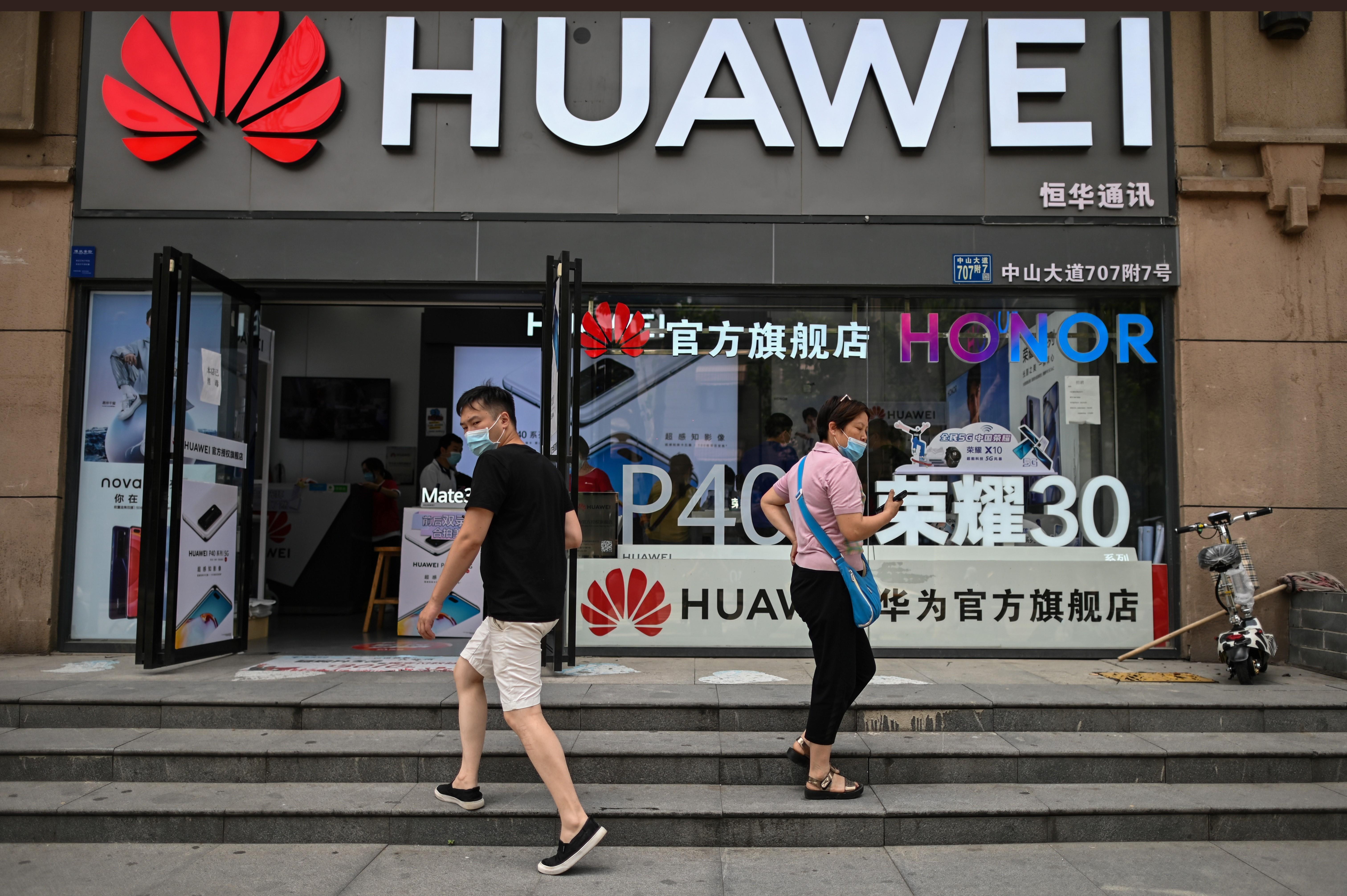 美國特朗普政府2020年9月15日啟動限制供應中國5G大廠華為美國技術與晶片的禁令。(HECTOR RETAMAL/AFP via Getty Images)