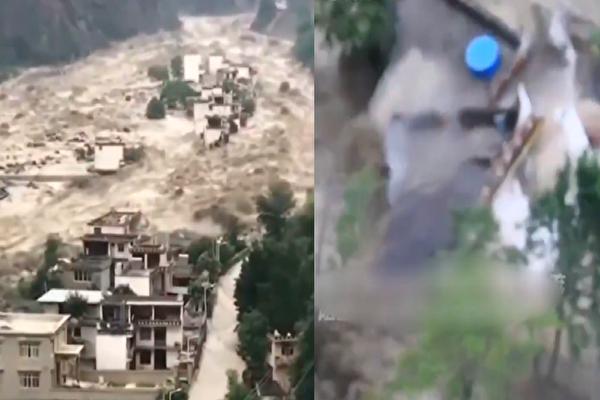 四川泥石流 房屋瞬間被沖毀 2萬餘人被轉移