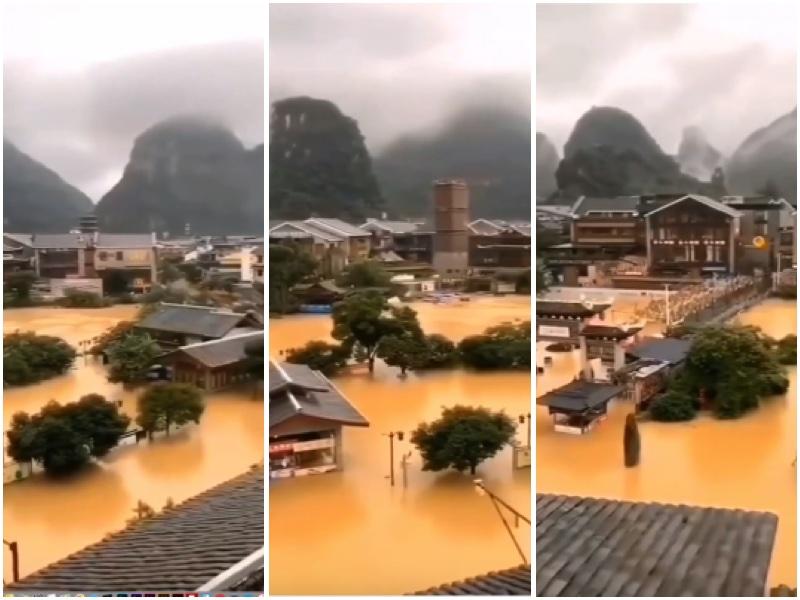 桂林陽朔景區遭遇洪澇後的情形。(大紀元合成圖)