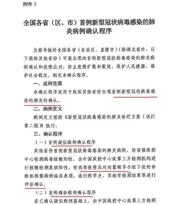 大紀元曝光1月18日中共衛健委下發各地的秘密通知。(大紀元)