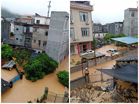 水庫洩洪,洪水迅速上漲,荔浦市雙江鎮村民措手不及。(受訪者提供)
