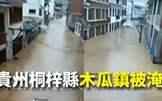 贵州接连暴雨多镇被淹 木瓜镇道路水深4米