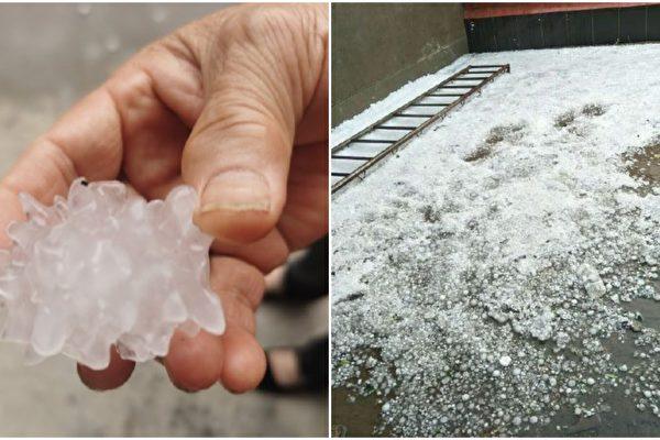 6月25日,北京部分地区下起形如中共病毒的冰雹。(微博图片/大纪元合成)