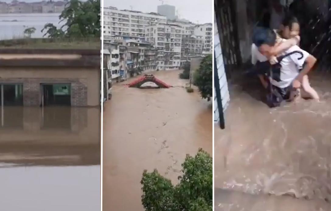 長江第3號洪水過境重慶 磁器口遭洪水淹沒