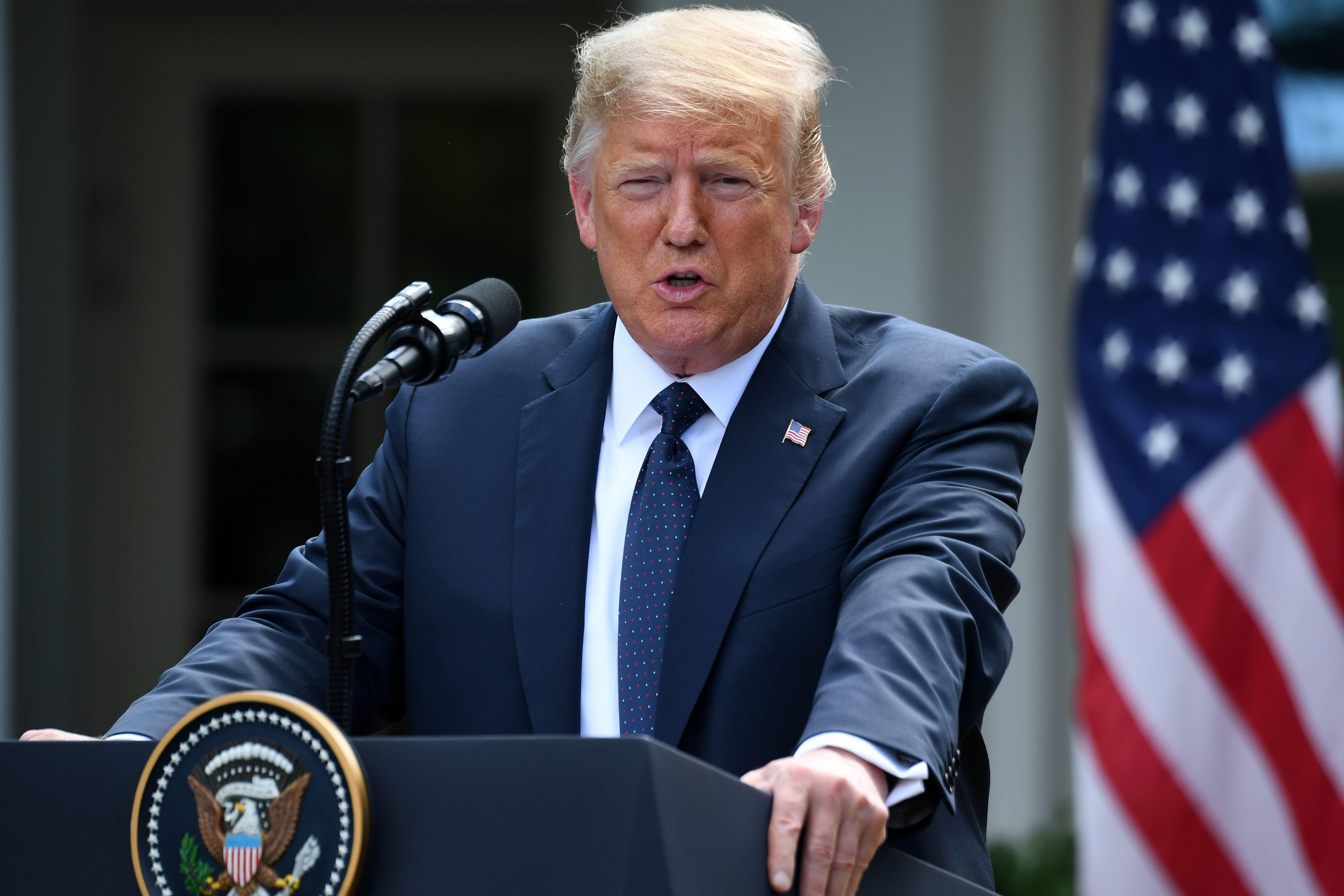 圖為特朗普總統2020年6月24日在白宮玫瑰園的記者會上發表講話。(SAUL LOEB/AFP via Getty Images)