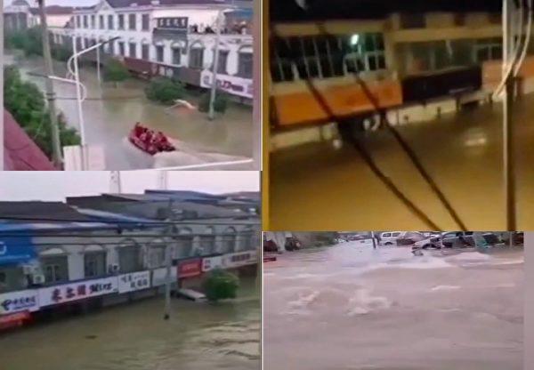 圖為2020年7月19日晚,安徽省六安市裕安區固鎮鎮大多數民眾一夜無眠,很多人因洪水被困在樓頂上等待救援。(影片截圖合成)