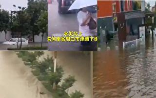 河南南阳、驻马店、漯河、周口等地洪水,已经将街道淹没,洪水还倒灌大巴车。(视频截图合成)