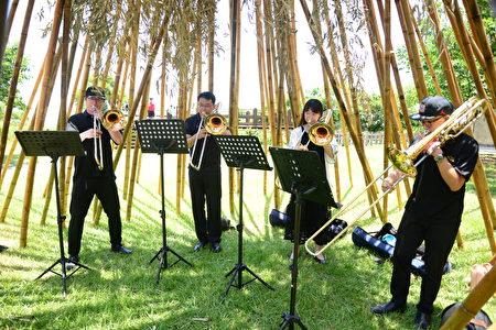 国立台湾交响乐团长号四重奏于大型竹构装置艺术里进行演奏。
