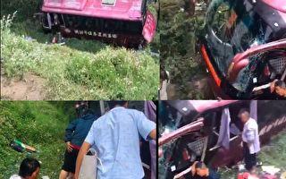 7月8日上午,一辆从延安开往榆林的客运大巴与一辆货车碰撞,导致15人受伤。(视频截图合成)