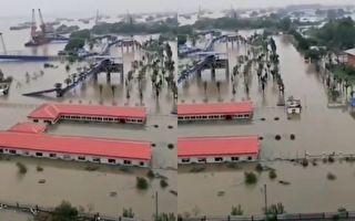 有視頻顯示武漢青山大橋閘口已開,民眾提醒:快跑。(視頻截圖合成)