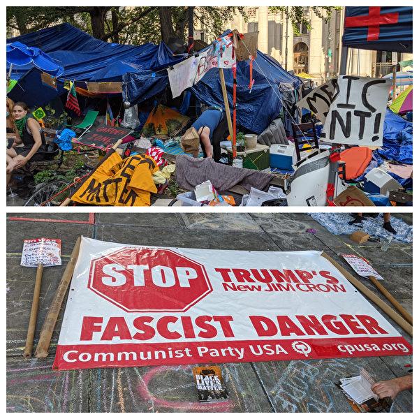 持續多日的BLM佔領市政廳運動現場,美國共產黨標誌。(黃小堂/大紀元)