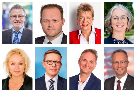 聲援法輪功學員反迫害的德國黑森州政治家:(上行從左至右)米歇爾·戛樂(Michael Gahler)、恩格寅·埃格魯(Engin Eroglu)、烏莉·尼森(Ulli Nissen)、卡琳·穆勒(Karin Mueller);(下行從左至右)瑪蒂娜·費德邁爾(Martina Feldmayer)、德科·班博格爾(Dirk Bamberger)、奧利弗·斯蒂爾博克(Oliver Stirbock)、海科·卡塞克特(Heiko Kasseckert)。(大紀元合成圖)