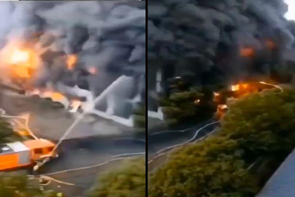 7月5日凌晨,江苏省苏州市吴江区盛泽镇科技路一企业仓库起火,连烧近7小时。(视频截图合成)