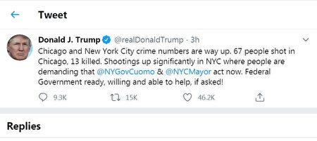 川普总统发推指出纽约市在5日发生大规模的枪击事件,州长和市长应该采取行动,如果需要,联邦也会提供帮助。
